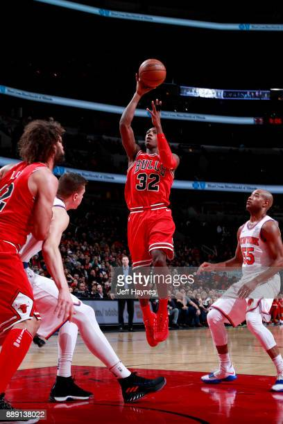 Kris Dunn of the Chicago Bulls goes to the basket against the New York Knicks on December 9 2017 at the United Center in Chicago Illinois NOTE TO...