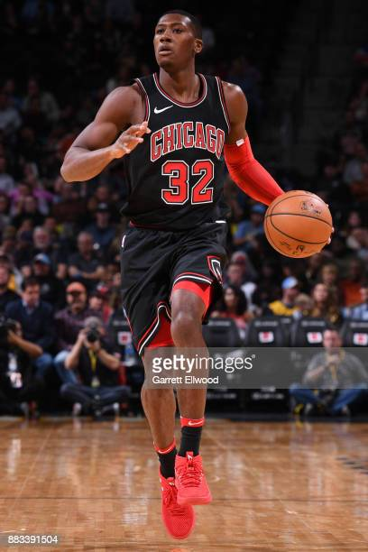 Kris Dunn of the Chicago Bulls handles the ball against the Denver Nuggets on November 30 2017 at the Pepsi Center in Denver Colorado NOTE TO USER...
