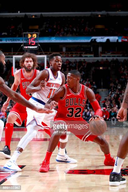 Kris Dunn of the Chicago Bulls handles the ball against the New York Knicks on December 9 2017 at the United Center in Chicago Illinois NOTE TO USER...