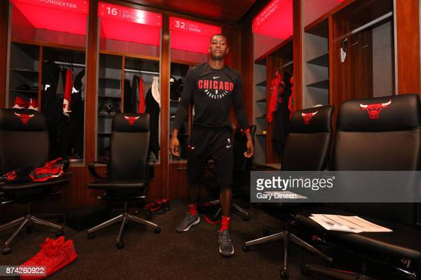 Kris Dunn of the Chicago Bulls is seen before the game against the Indiana Pacers on November 10 2017 at the United Center in Chicago Illinois NOTE...