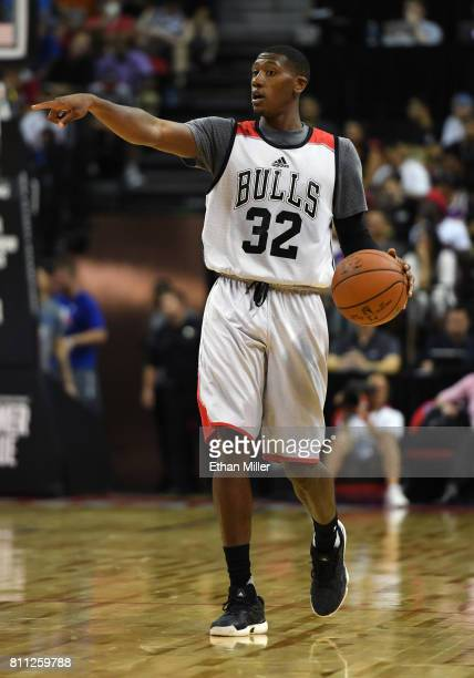Kris Dunn of the Chicago Bulls sets up a play against the Dallas Mavericks during the 2017 Summer League at the Thomas Mack Center on July 8 2017 in...