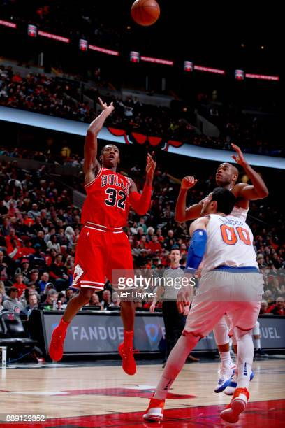 Kris Dunn of the Chicago Bulls shoots the ball against the New York Knicks on December 9 2017 at the United Center in Chicago Illinois NOTE TO USER...