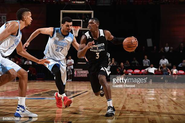 Kris Dunn of the Minnesota Timberwolves drives to the basket against the Denver Nuggets during the 2016 Las Vegas Summer League game on July 8 2016...