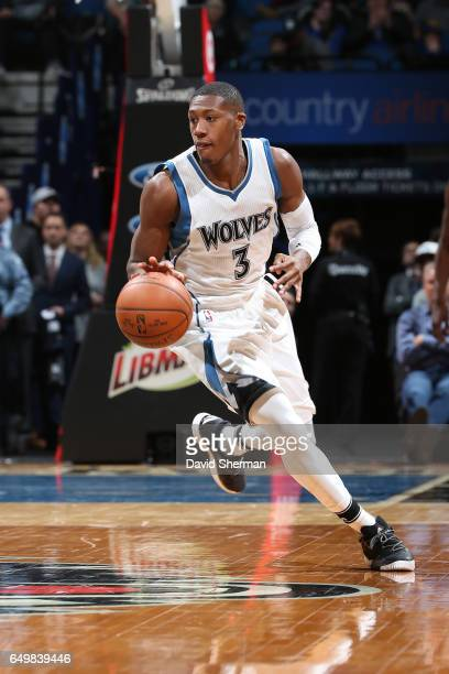 Kris Dunn of the Minnesota Timberwolves handles the ball against the LA Clippers on March 8 2017 at Target Center in Minneapolis Minnesota NOTE TO...
