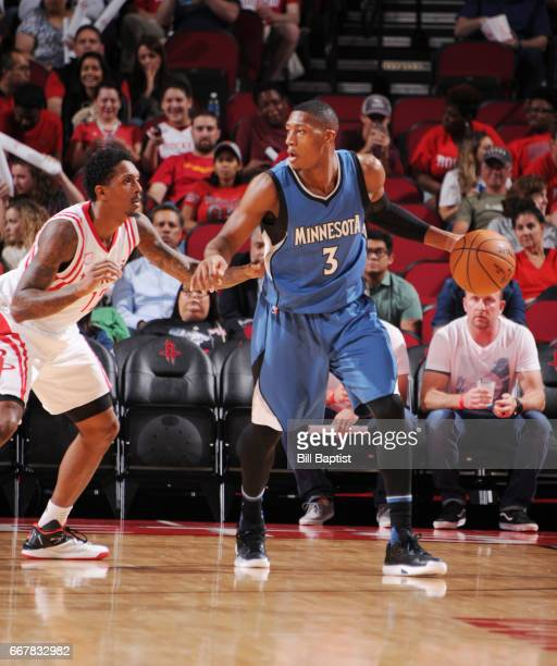 Kris Dunn of the Minnesota Timberwolves handles the ball against the Houston Rockets during the game on April 12 2017 at the Toyota Center in Houston...
