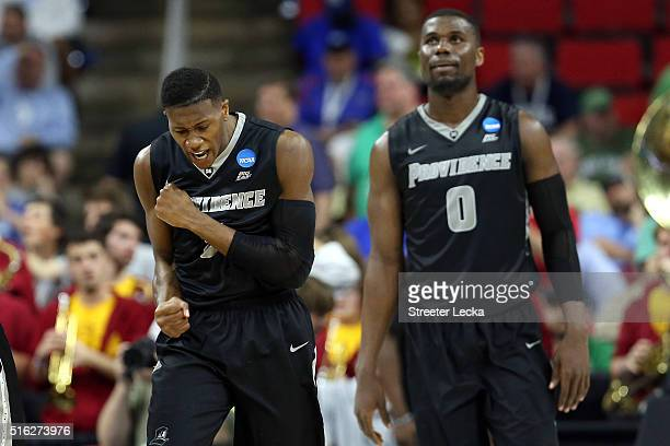 Kris Dunn of the Providence Friars celebrates after scoring points late in the second half against the USC Trojans during the first round of the 2016...