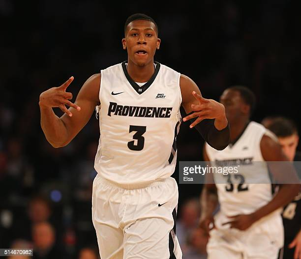 Kris Dunn of the Providence Friars celebrates his three point shot in the first half against the Butler Bulldogs during the quarterfinals of the Big...