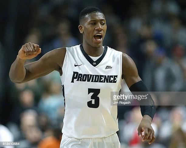 Kris Dunn of the Providence Friars celebrates in the second half against the Creighton Bluejays on March 2 at the Dunkin' Donuts Center in Providence...