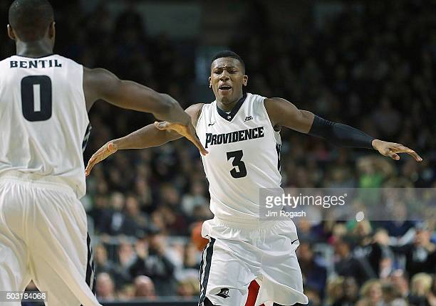 Kris Dunn of the Providence Friars celebrates with teammate Ben Bentil during a game against the St John's Red Storm in the second half on January 2...