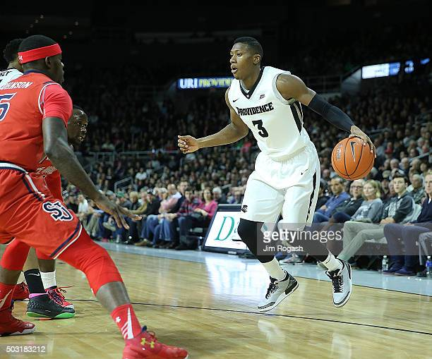 Kris Dunn of the Providence Friars drives toward the basket against the St John's Red Storm in the first half on January 2 at the Dunkin' Donuts...