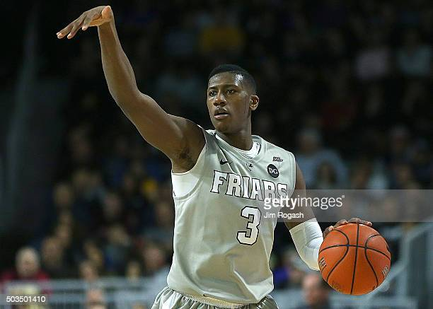 Kris Dunn of the Providence Friars gestures against the Marquette Golden Eagles in the first half on January 5 at the Dunkin' Donuts Center in...