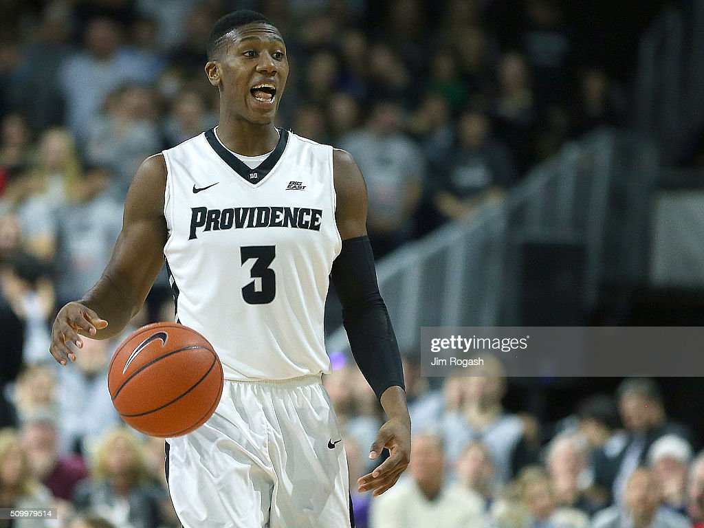 <a gi-track='captionPersonalityLinkClicked' href=/galleries/search?phrase=Kris+Dunn&family=editorial&specificpeople=7887137 ng-click='$event.stopPropagation()'>Kris Dunn</a> #3 of the Providence Friars react against the Georgetown Hoyas in the first half on February 13, 2016, at the Dunkin' Donuts Center in Providence, Rhode Island.