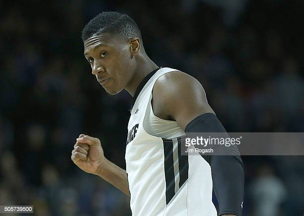 Kris Dunn of the Providence Friars reacts after a threepoint basket against the Butler Bulldogs in the secondhalf on January 19 at the Dunkin' Donuts...