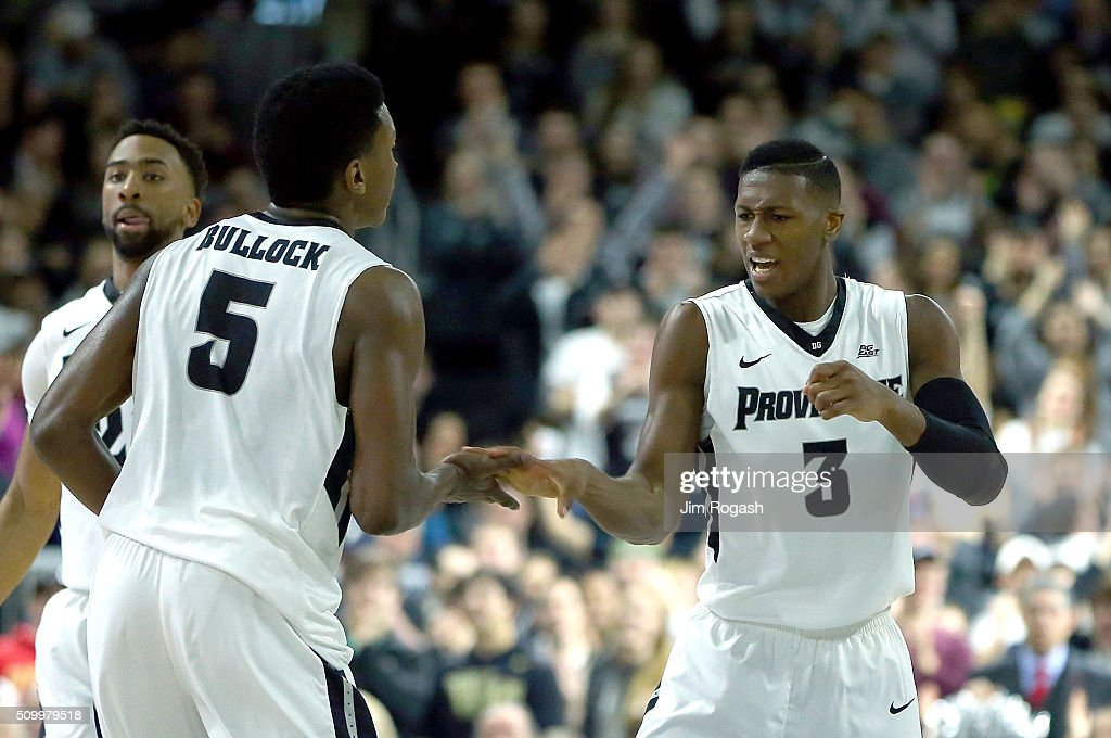 <a gi-track='captionPersonalityLinkClicked' href=/galleries/search?phrase=Kris+Dunn&family=editorial&specificpeople=7887137 ng-click='$event.stopPropagation()'>Kris Dunn</a> #3 of the Providence Friars reacts against the Georgetown Hoyas in the first half on February 13, 2016, at the Dunkin' Donuts Center in Providence, Rhode Island.