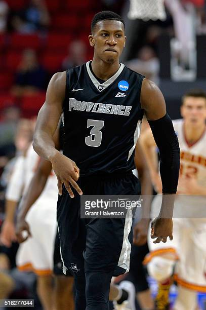 Kris Dunn of the Providence Friars reacts in the second half against the USC Trojans during the first round of the 2016 NCAA Men's Basketball...