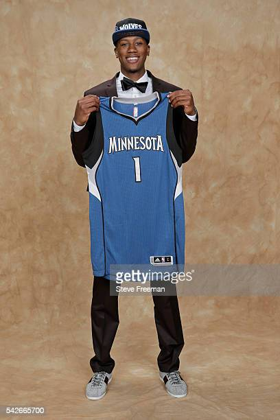 Kris Dunn poses for a portrait after being drafted number five overall by the Minnesota Timberwolves during the 2016 NBA Draft on June 23 2016 at...