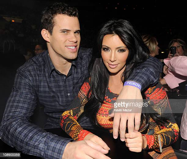 Kris Humphries and Kim Kardashian watch Prince perform during his 'Welcome 2 America' tour at Madison Square Garden on February 7 2011 in New York...