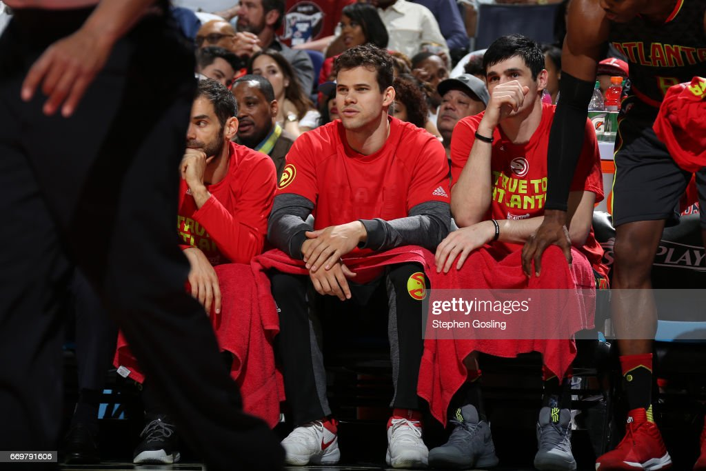 Kris Humphries #43 of the Atlanta Hawks smiles from the bench during the Eastern Conference Quarterfinals game against the Washington Wizards during the 2017 NBA Playoffs on April 16, 2017 at Verizon Center in Washington, DC.