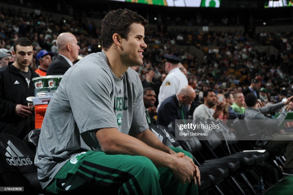 Kris Humphries #43 of the Boston Celtics before a game against the New York Knicks on March 12, 2014 at the TD Garden in Boston, Massachusetts.