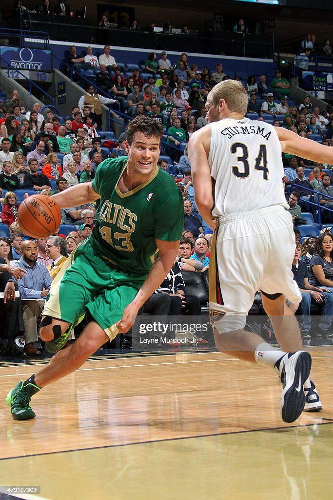 Kris Humphries #43 of the Boston Celtics drives baseline against the New Orleans Pelicans during an NBA game on March 16, 2014 at the Smoothie King Center in New Orleans, Louisiana.