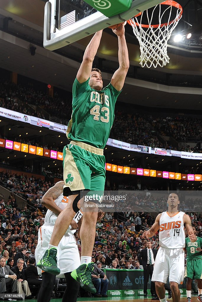 Kris Humphries #43 of the Boston Celtics dunks against the Phoenix Suns on March 14, 2014 at the TD Garden in Boston, Massachusetts.