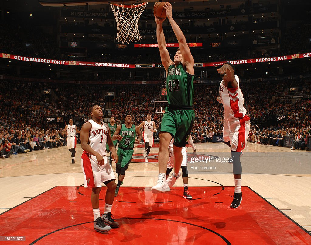 Kris Humphries #43 of the Boston Celtics dunks against the Toronto Raptors on March 28, 2014 at the Air Canada Centre in Toronto, Ontario, Canada.