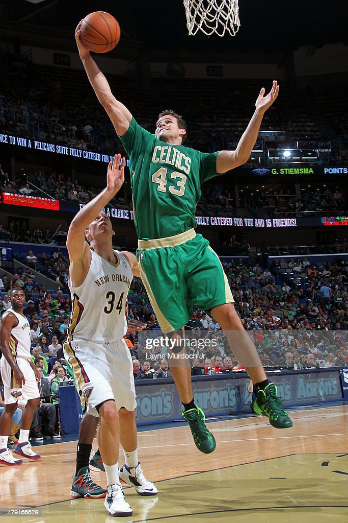 Kris Humphries #43 of the Boston Celtics goes up for the ball against the New Orleans Pelicans during an NBA game on March 16, 2014 at the Smoothie King Center in New Orleans, Louisiana.