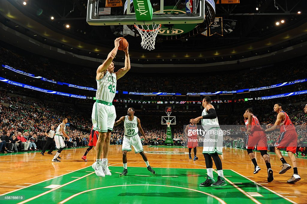 <a gi-track='captionPersonalityLinkClicked' href=/galleries/search?phrase=Kris+Humphries&family=editorial&specificpeople=209199 ng-click='$event.stopPropagation()'>Kris Humphries</a> #43 of the Boston Celtics grabs a rebound against the Washington Wizards on December 21, 2013 at the TD Garden in Boston, Massachusetts.
