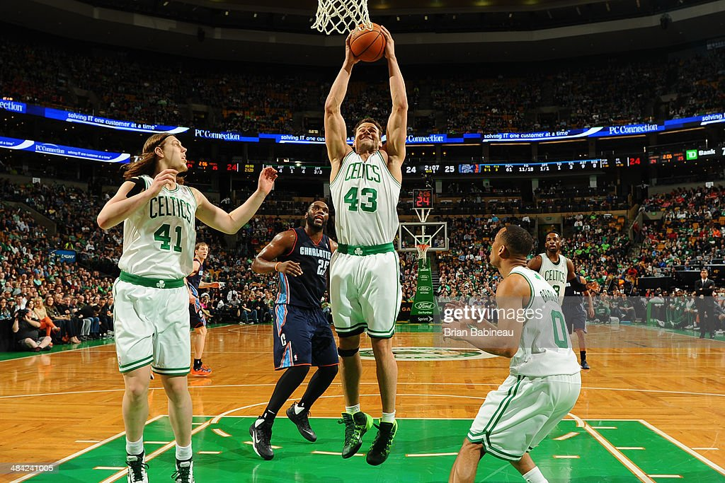 Kris Humphries #43 of the Boston Celtics grabs the rebound during the game against the Charlotte Bobcats on April 11, 2014 at the TD Garden in Boston, Massachusetts.