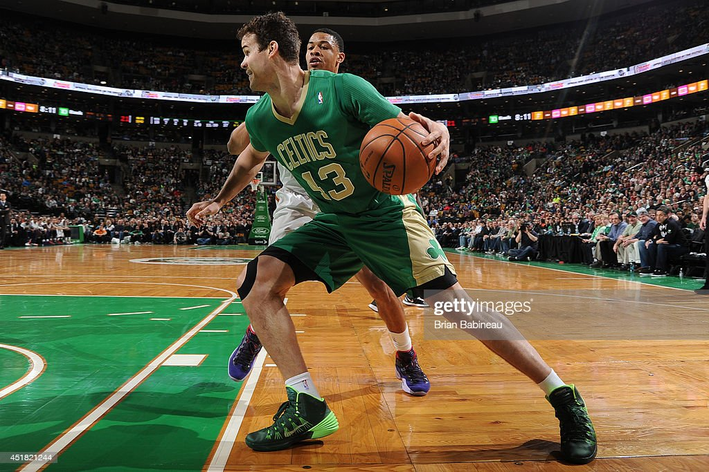 Kris Humphries #43 of the Boston Celtics handles the ball against the Phoenix Suns on March 14, 2014 at the TD Garden in Boston, Massachusetts.