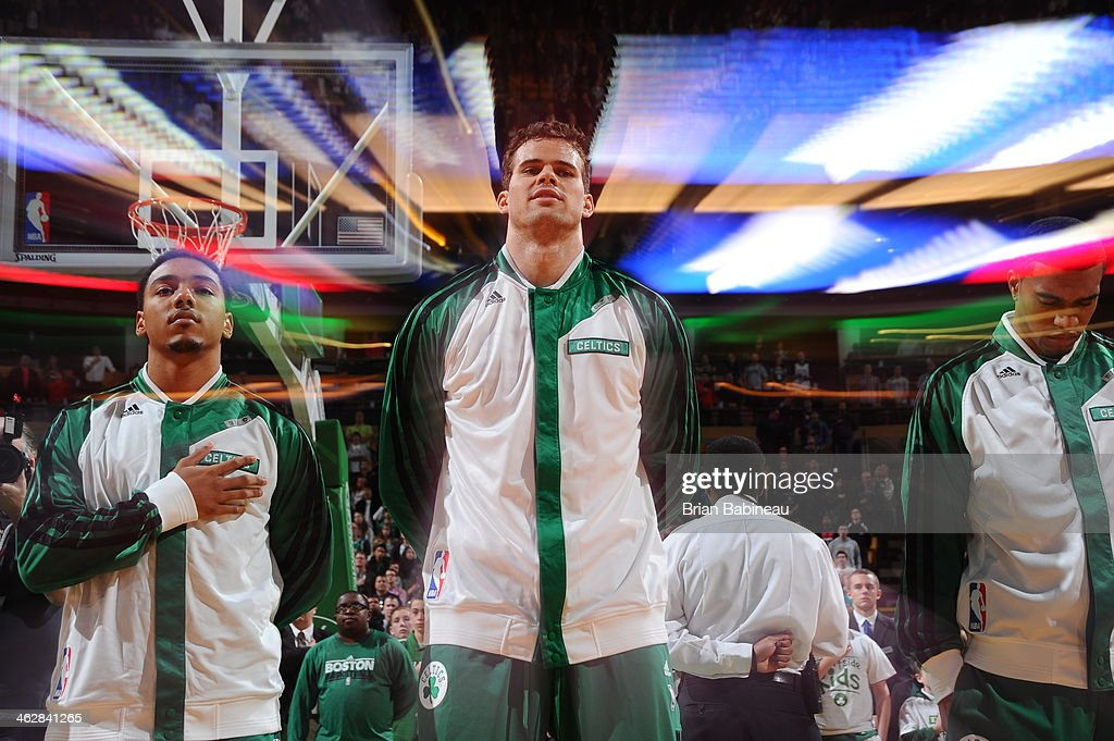 <a gi-track='captionPersonalityLinkClicked' href=/galleries/search?phrase=Kris+Humphries&family=editorial&specificpeople=209199 ng-click='$event.stopPropagation()'>Kris Humphries</a> #43 of the Boston Celtics looks on before the game against the Memphis Grizzlies on November 27, 2013 at the TD Garden in Boston, Massachusetts.
