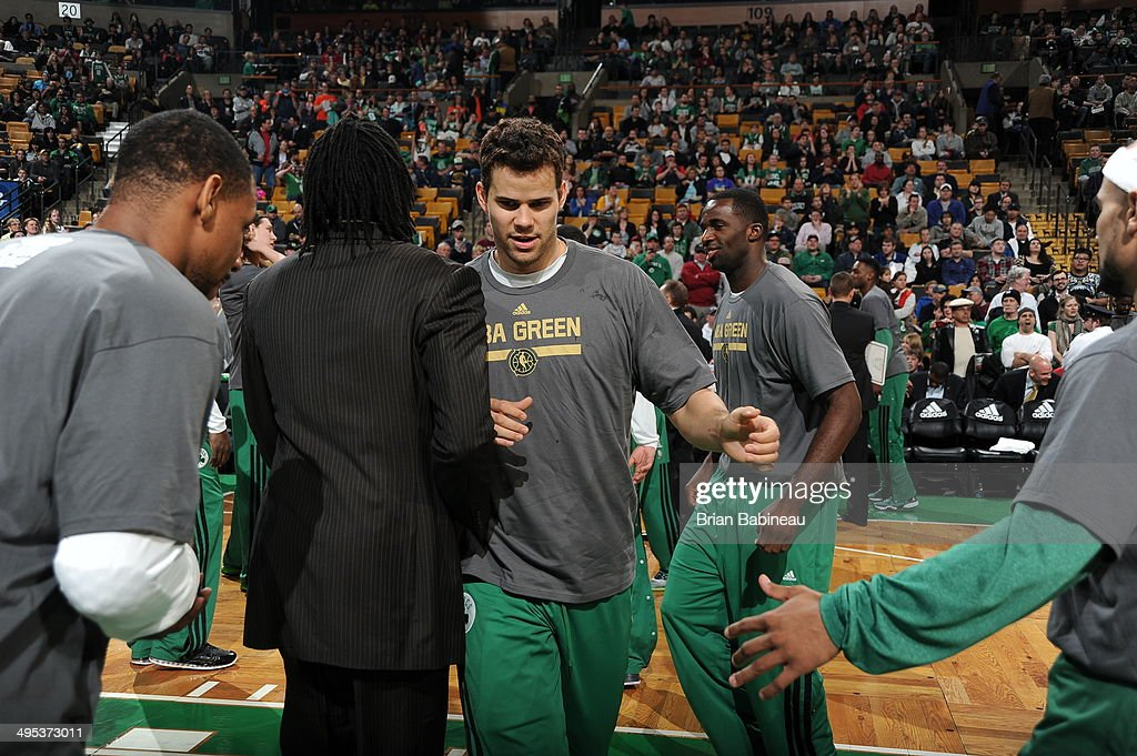<a gi-track='captionPersonalityLinkClicked' href=/galleries/search?phrase=Kris+Humphries&family=editorial&specificpeople=209199 ng-click='$event.stopPropagation()'>Kris Humphries</a> #43 of the Boston Celtics prepares before the game against the Philadelphia 76ers on April 4, 2014 at the TD Garden in Boston, Massachusetts.