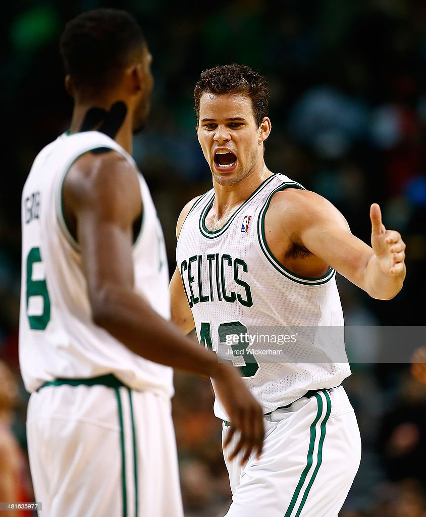 Kris Humphries #43 of the Boston Celtics reacts following a shot in the second half against the Chicago Bulls during the game at TD Garden on March 30, 2014 in Boston, Massachusetts.