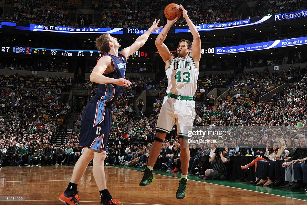 Kris Humphries #43 of the Boston Celtics shoots the ball against Cody Zeller #40 of the Charlotte Bobcats on April 11, 2014 at the TD Garden in Boston, Massachusetts.