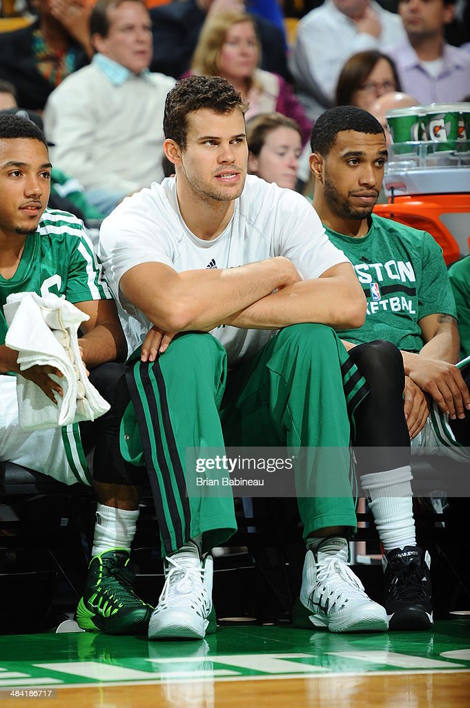 Kris Humphries #43 of the Boston Celtics sits on the bench during the game against the Utah Jazz on November 6, 2013 at the TD Garden in Boston, Massachusetts.