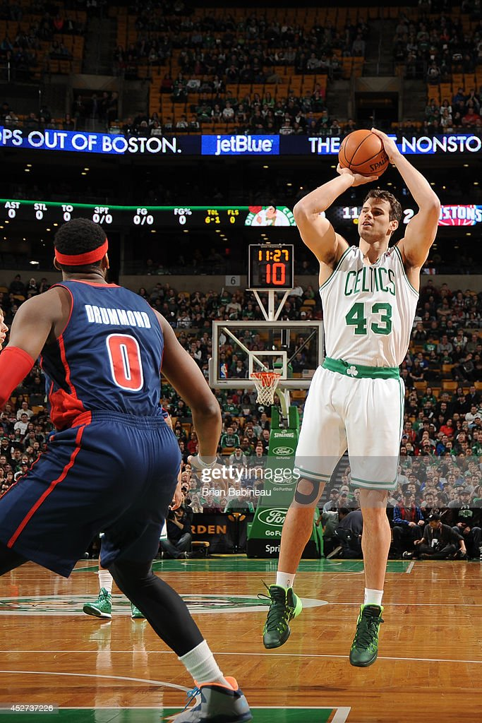 <a gi-track='captionPersonalityLinkClicked' href=/galleries/search?phrase=Kris+Humphries&family=editorial&specificpeople=209199 ng-click='$event.stopPropagation()'>Kris Humphries</a> #43 of the Boston Celtics takes a shot against the Detroit Pistons on March 9, 2014 at the TD Garden in Boston, Massachusetts.