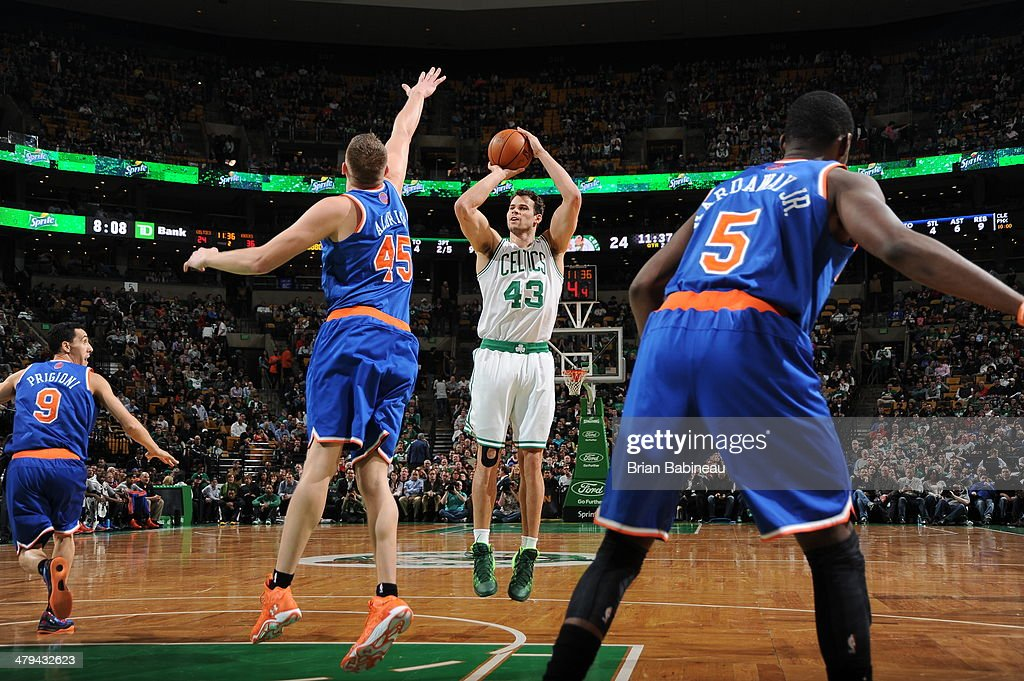 Kris Humphries #43 of the Boston Celtics takes a shot against the New York Knicks on March 12, 2014 at the TD Garden in Boston, Massachusetts.