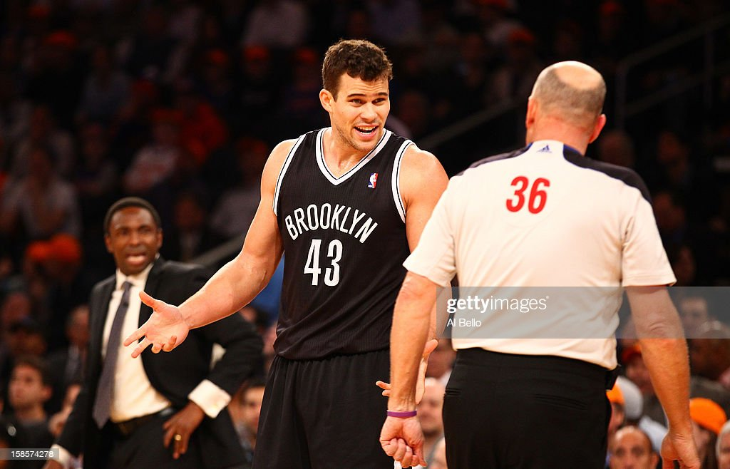 Kris Humphries #43 of the Brooklyn Nets argues a technical fouls against the New York Knicks during their game at Madison Square Garden on December 19, 2012 in New York City.