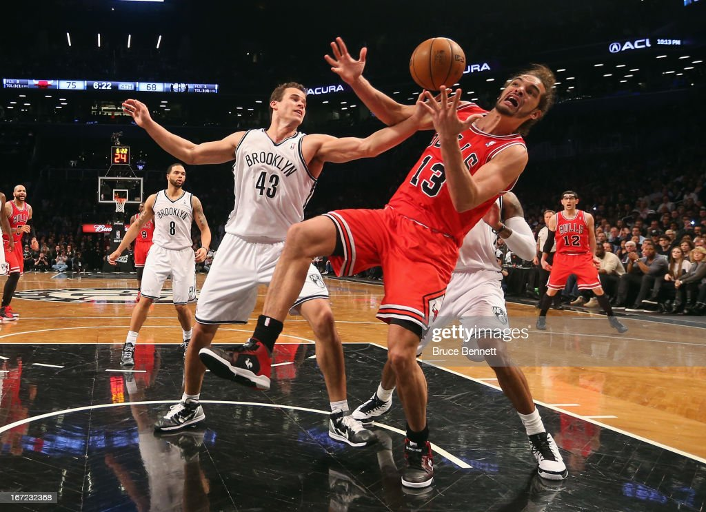 <a gi-track='captionPersonalityLinkClicked' href=/galleries/search?phrase=Kris+Humphries&family=editorial&specificpeople=209199 ng-click='$event.stopPropagation()'>Kris Humphries</a> #43 of the Brooklyn Nets blocks a shot by <a gi-track='captionPersonalityLinkClicked' href=/galleries/search?phrase=Joakim+Noah&family=editorial&specificpeople=699038 ng-click='$event.stopPropagation()'>Joakim Noah</a> #13 of the Chicago Bulls during Game Two of the Eastern Conference Quarterfinals of the 2013 NBA Playoffs at the Barclays Center on April 22, 2013 in New York City. The Bulls defeated the Nets 90-82.