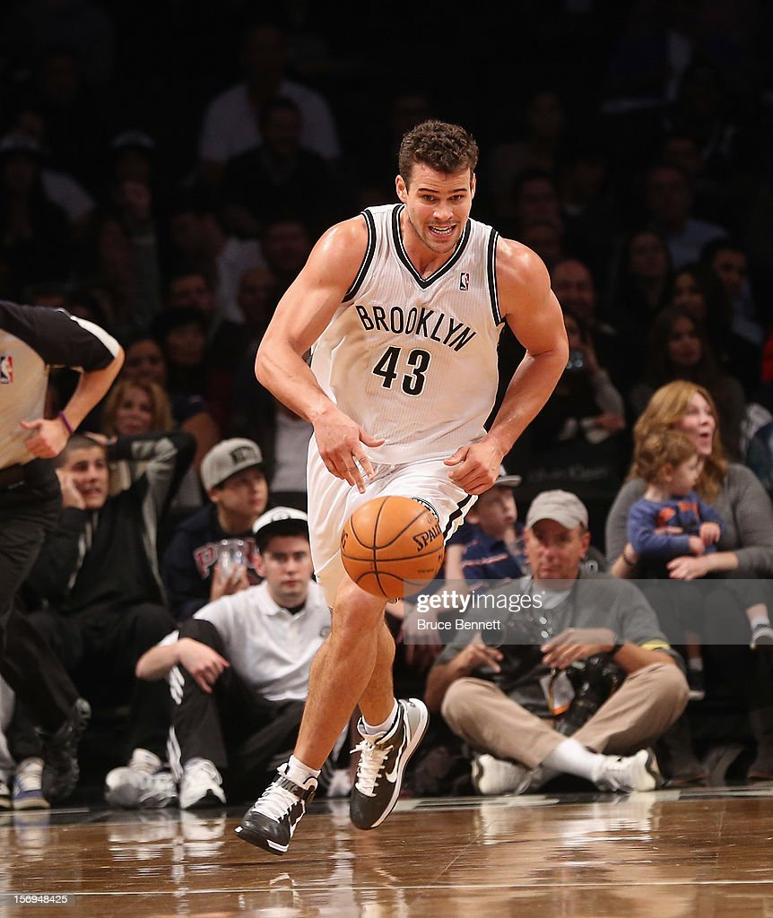 Kris Humphries #43 of the Brooklyn Nets dribbles the ball against the Portland Trail Blazers at the Barclays Center on November 25, 2012 in the Brooklyn borough of New York City.