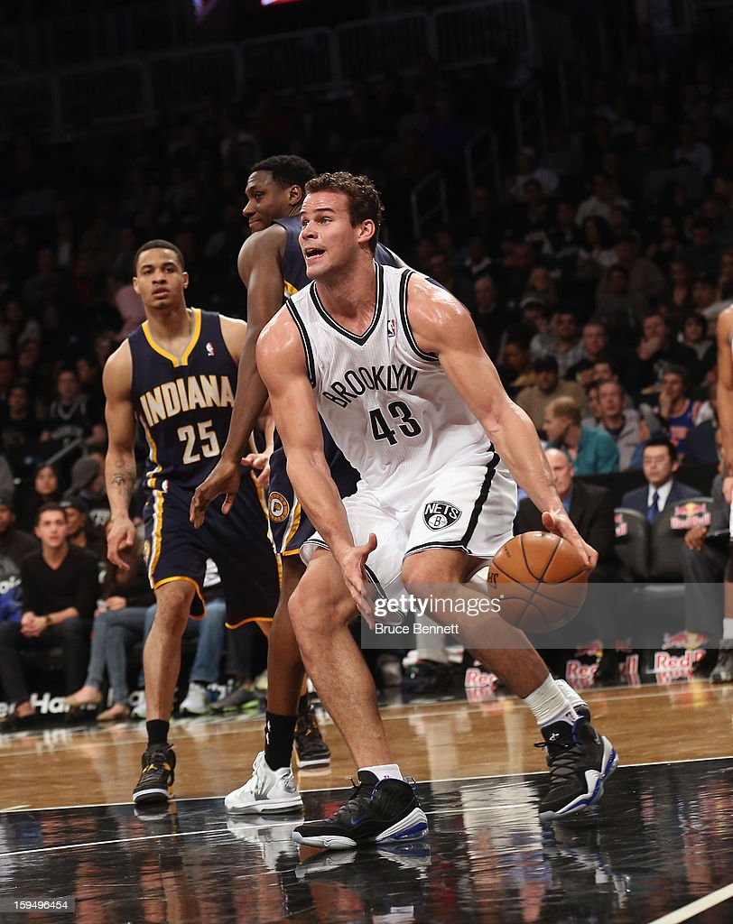 Kris Humphries #43 of the Brooklyn Nets dribbles the ball against the Indiana Pacers at the Barclays Center on January 13, 2013 in New York City.