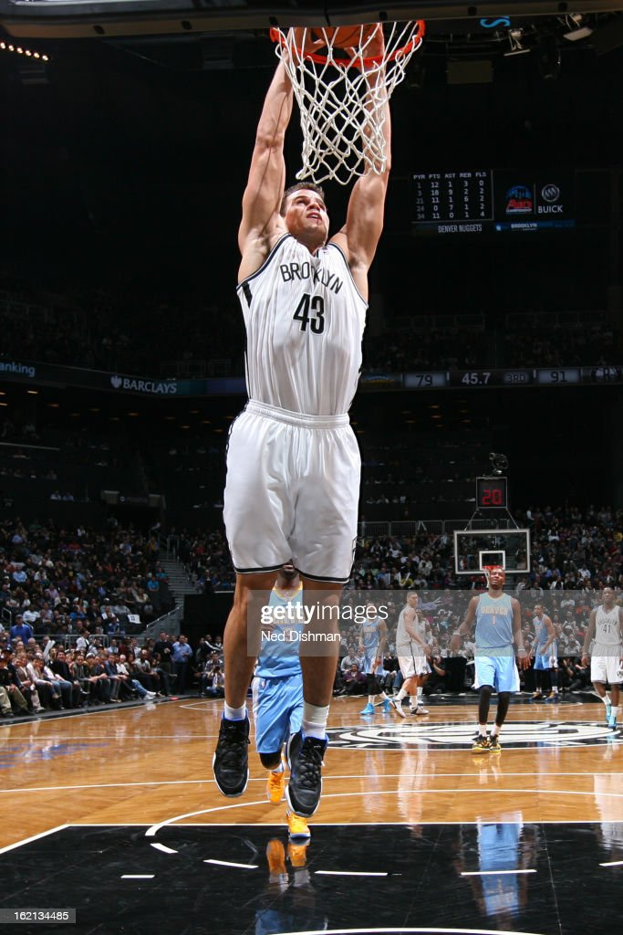 Kris Humphries #43 of the Brooklyn Nets drives to the basket against the Denver Nuggets on February 13, 2013 at the Barclays Center in the Brooklyn borough of New York City in New York City.
