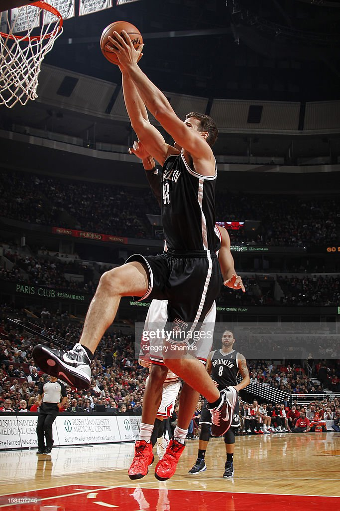 Kris Humphries #43 of the Brooklyn Nets goes to the basket against the Chicago Bulls on December 15, 2012 at the United Center in Chicago, Illinois.