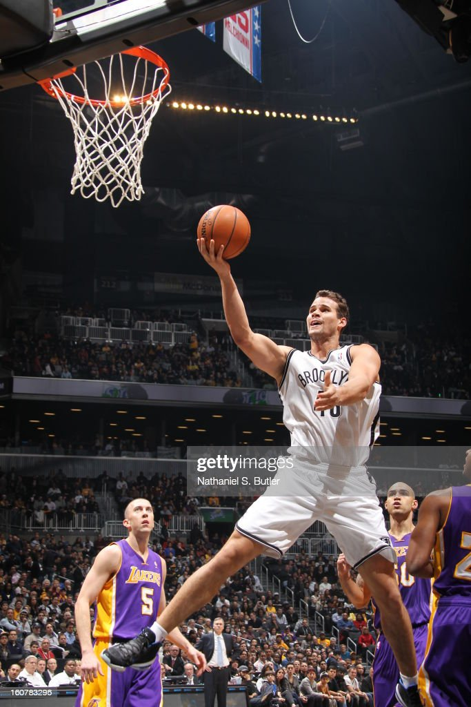 Kris Humphries #43 of the Brooklyn Nets goes to the basket against the Los Angeles Lakers on February 5, 2013 at the Barclays Center in the Brooklyn borough of New York City.