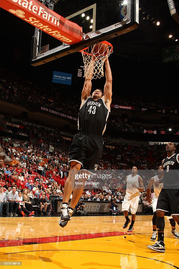 Kris Humphries #43 of the Brooklyn Nets goes to the basket during a game between the Brooklyn Nets and the Miami Heat on December 1, 2012 at American Airlines Arena in Miami, Florida.
