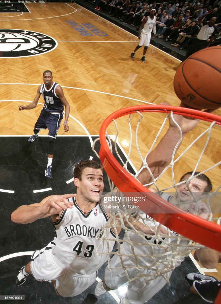 Kris Humphries #43 of the Brooklyn Nets goes to the basket during the game between the Oklahoma City Thunder and the Brooklyn Nets on December 4, 2012 at the Barclays Center in the Brooklyn Borough of New York City.