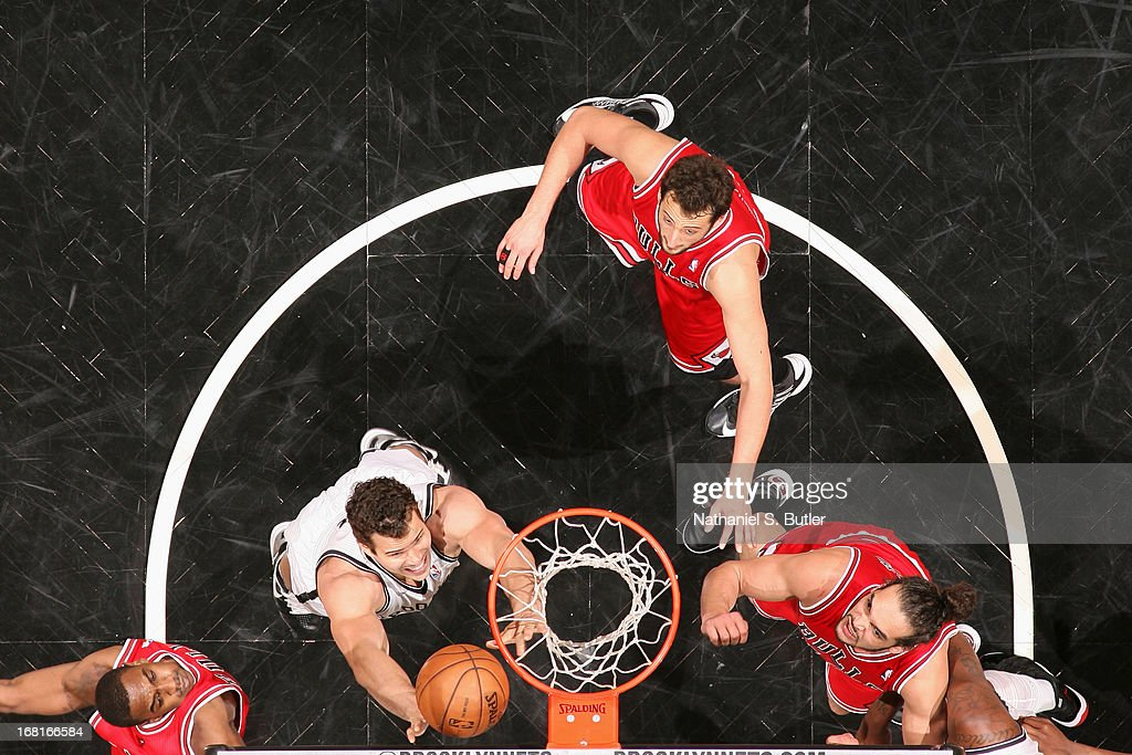 <a gi-track='captionPersonalityLinkClicked' href=/galleries/search?phrase=Kris+Humphries&family=editorial&specificpeople=209199 ng-click='$event.stopPropagation()'>Kris Humphries</a> #43 of the Brooklyn Nets goes up for a rebound against the Chicago Bulls during the Game Seven of the Eastern Conference Quarterfinals during the 2013 NBA Playoffs at the Barclays Center on May 4, 2013 in the Brooklyn borough of New York City.