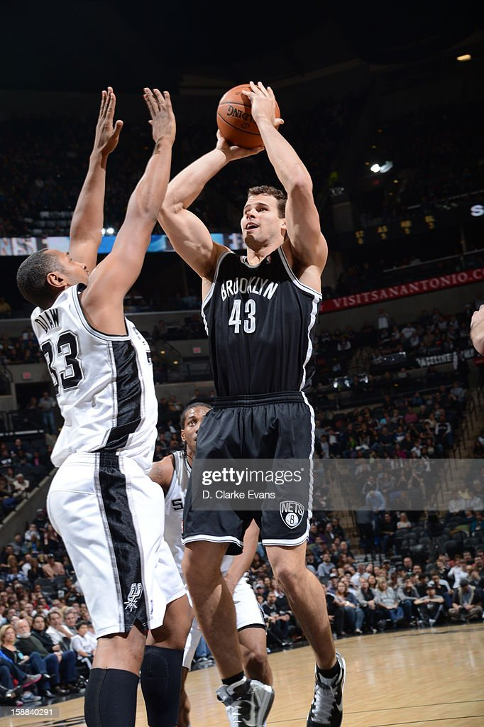<a gi-track='captionPersonalityLinkClicked' href=/galleries/search?phrase=Kris+Humphries&family=editorial&specificpeople=209199 ng-click='$event.stopPropagation()'>Kris Humphries</a> #43 of the Brooklyn Nets goes up for a shot against <a gi-track='captionPersonalityLinkClicked' href=/galleries/search?phrase=Boris+Diaw&family=editorial&specificpeople=201505 ng-click='$event.stopPropagation()'>Boris Diaw</a> #33 of the San Antonio Spurs on December 31, 2012 at the AT&T Center in San Antonio, Texas.