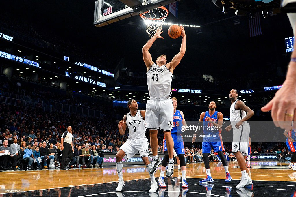 Kris Humphries #43 of the Brooklyn Nets grabs a rebound against the Detroit Pistons at the Barclays Center on December 14, 2012 in the Brooklyn borough of New York City.