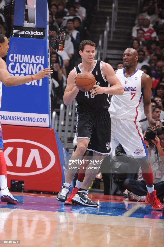 Kris Humphries #43 of the Brooklyn Nets handles the ball againstles the ball during the game between the Los Angeles Clippers and the Brooklyn Nets at Staples Center on March 23, 2013 in Los Angeles, California.